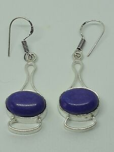 SILVER PLATED Purple Coral EARRINGS DROP DANGLE STYLE HAND MADE + Gift Bag..