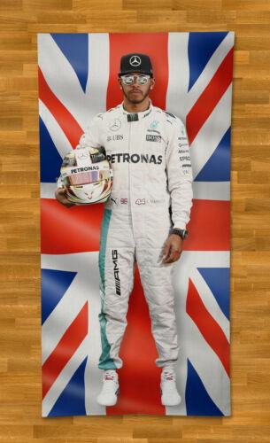 """Lewis Hamilton Towel Beach 55/"""" Summer Bath Pool Gym British Flag Formula 1"""