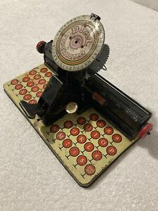 Vintage MAR DIAL TYPEWRITER TIN TOY by Louis Marx Pressed Metal Good Lithography