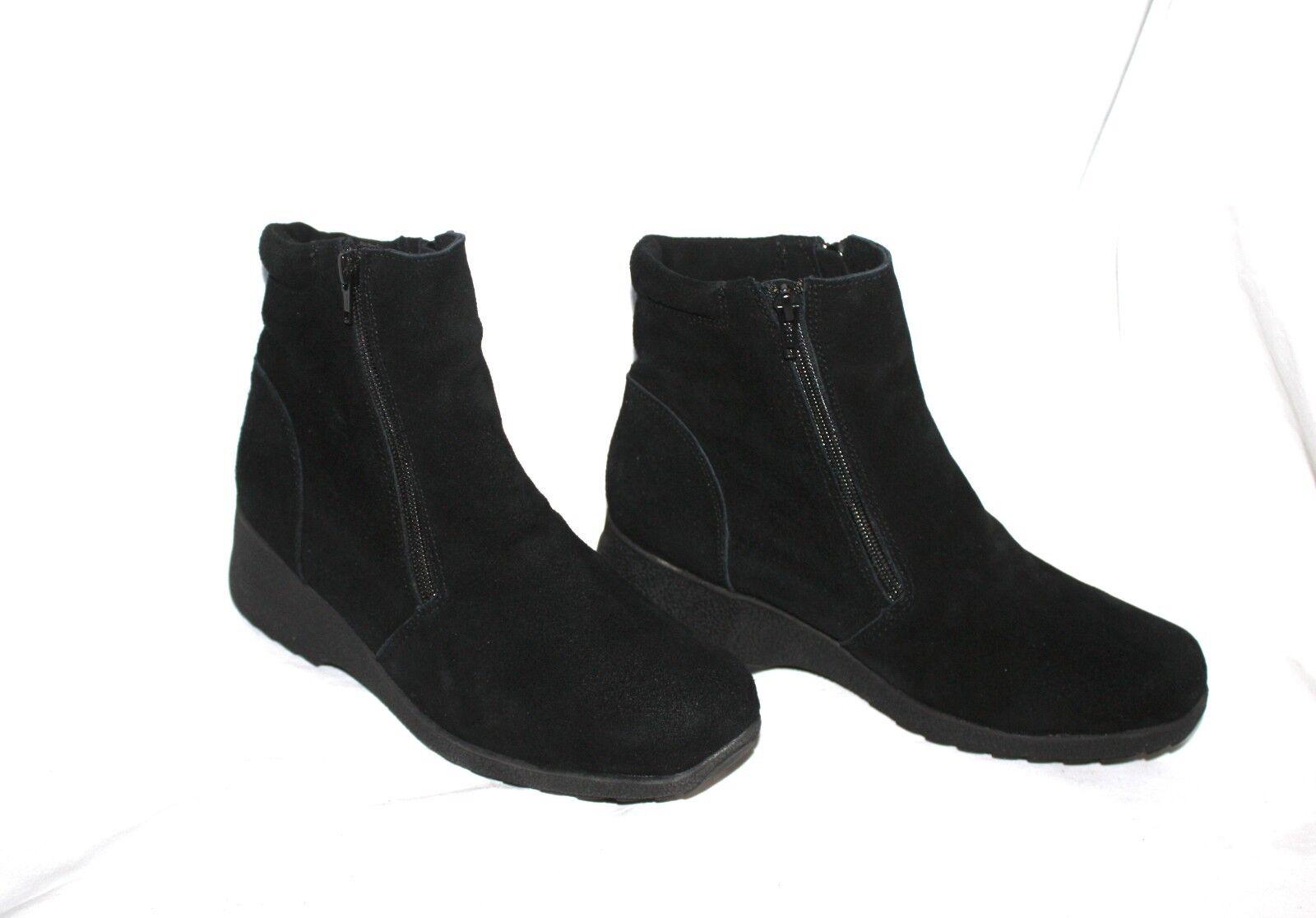 Aquatherm By Santana Sasha 3 Black Suede Double Zipper Ankle Wedge Boots Sz 9 M