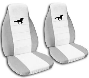 ford mustang seat covers 1994 2004 white center and black horse 20 color options. Black Bedroom Furniture Sets. Home Design Ideas