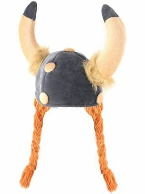 Adults Unisex Viking Hat Horns /& Ginger Hair Plaited Fancy Dress Wig