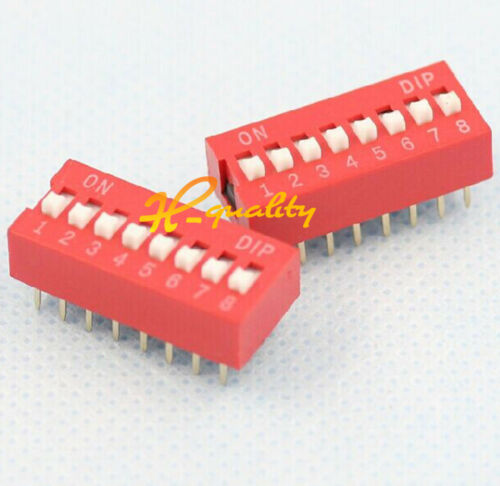 20PCS Red 2.54mm Pitch 8-Bit 8 Positions Ways Slide Type DIP Switch L1SH