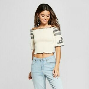 7d9636ecdde428 Xhilaration Off The Shoulder Women s Crop Top Size XS Embroidered ...