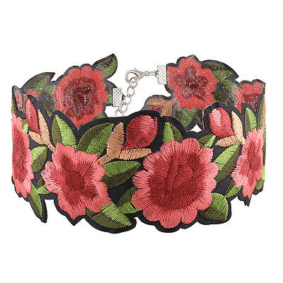 1pc Women Bohemian Printed Flower Embroidery Choker Necklace Jewelry Collar Gift