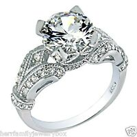 Vintage Estate Round Sim White Sapphire Engagement Ring Women's Sterling Silver