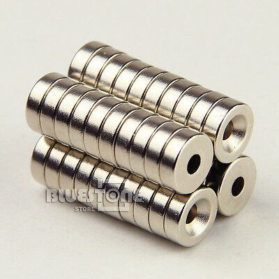 "48 pcs Disc Magnets 10 x 3 mm (0.39 x 0.118"") Hole 3mm Rare Earth Neodymium N35"