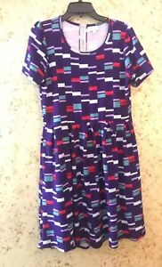 LuLaRoe-Amelia-Dress-XL-purple-green-red-white-geometric-rectangle-Zipper-Pocket