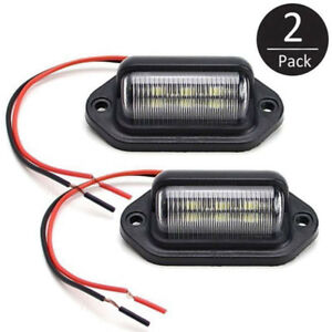 2PCS Universal Trailer Van 6-SMD LED License Plate Tag Light Lamps For Truck SUV