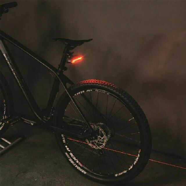 Bicycle Bike Indicator LED Rear Tail Light USB Wireless Remote Control 2 Laser