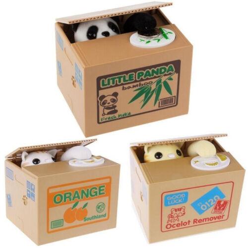 Piggy Bank PANDA Cat Steal Money Coin Saving Box Pot Storage Xmas Kids Gift