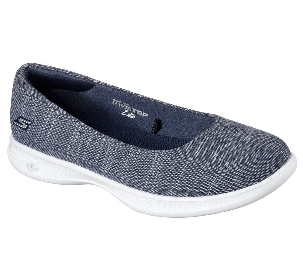 Nuevos Skechers Skechers Skechers Mujeres Bailarina pisos Slipon Mocasín caminar ir paso Lite azulsh Azul Marino  oferta especial