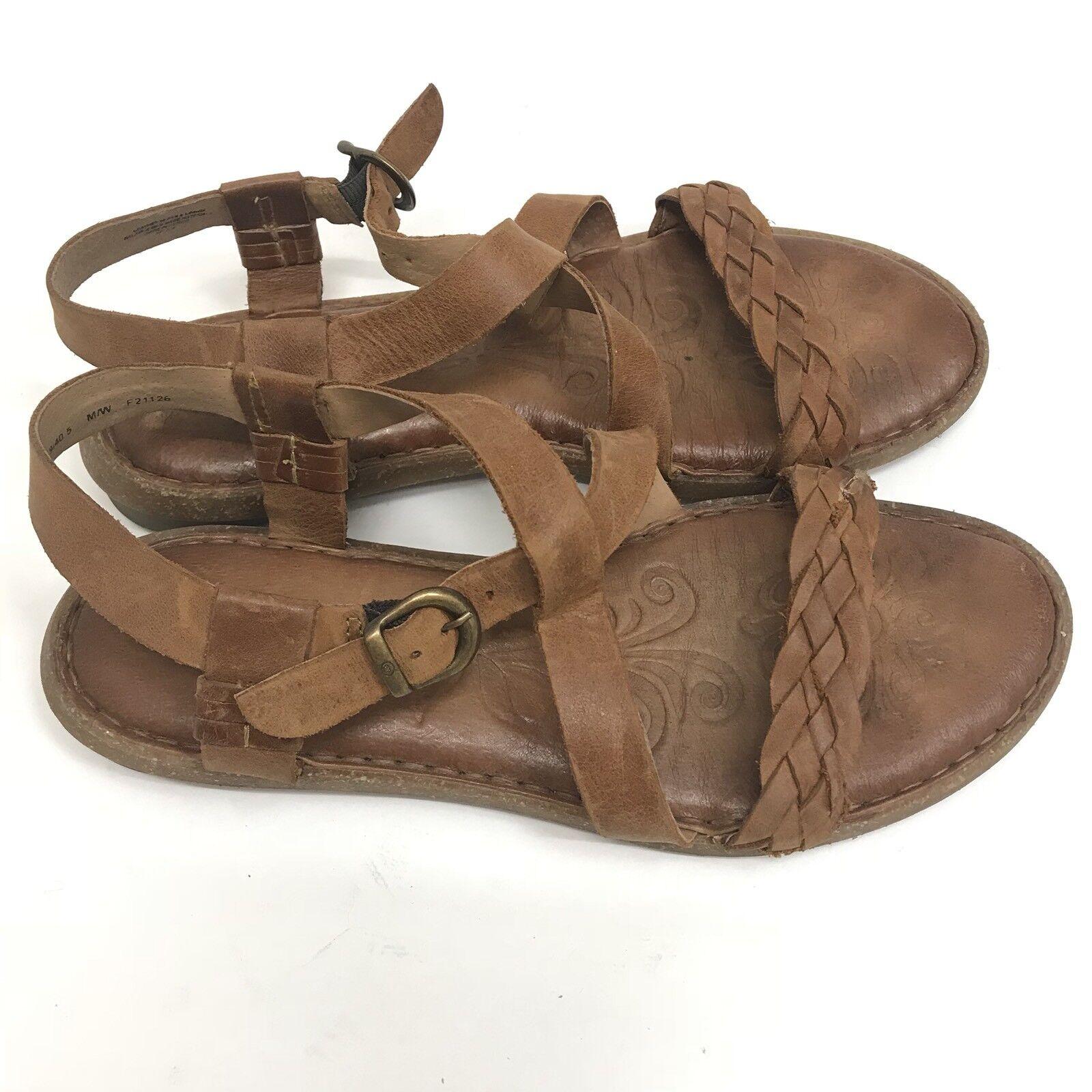 e0177ec9aba Born Womens Sandals Leather Strappy Comfort Flat Open Toe Size 9 US ...