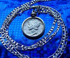 "HIGH GRADE Mercury Dime Bezel Pendant on a 24"" 925 Sterling Silver Chain"