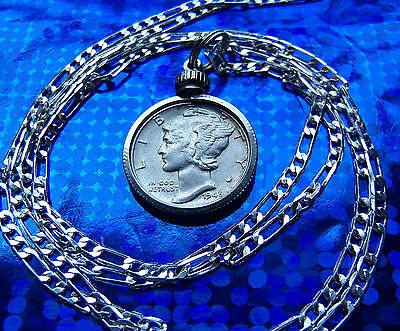 "American Classic Silver Mercury Dime Pendant ON A 30/"" .925 Sterling Silver Chain"