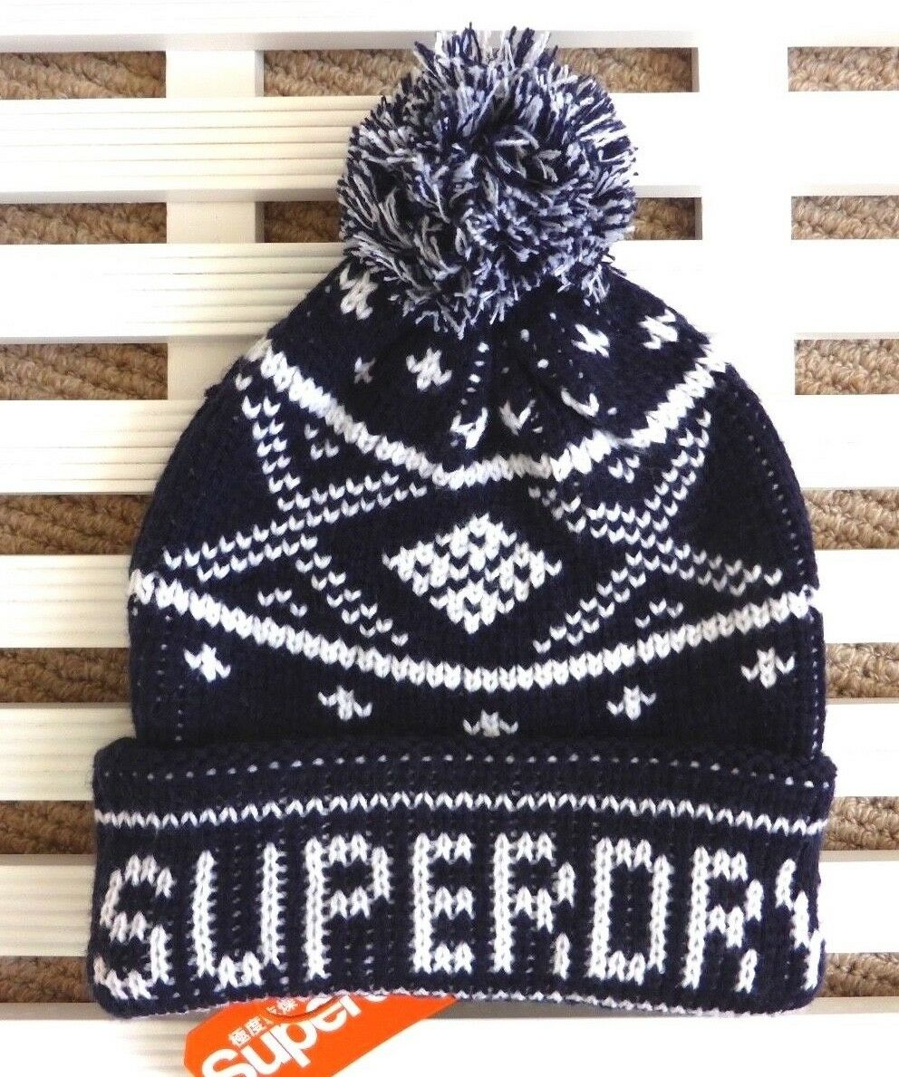 Unisex SUPERDRY NAVY Chunky Knit Bobble Hat Beanie Toque Pompom NEW TAGS