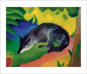 Marc Blue Black Fox Fine Art Giclee Print Poster Wall Art Various Sizes Ebay
