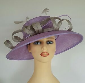 36ceb7252a2b1 Ladies Wedding Hat Ascot Races Mother Bride Lavender Mauve   Silver ...