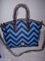 Dooney & Bourke Sky Blue Dark Brown Leather Chevron Satchel Shoulder Bag
