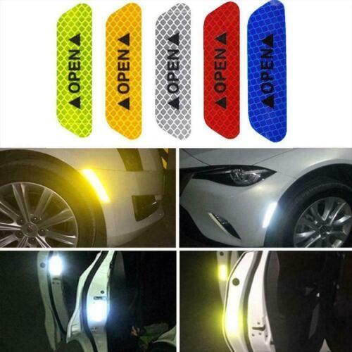 4Pcs Car Safety Reflective Tape Sticker Door Open Reflector Sticker Warning H2X1