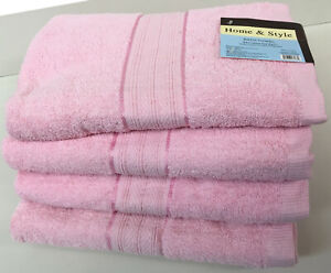 "Turquoise Set of 4 Large 27/"" x 54/"" Size 100/% Cotton Bath Towels"