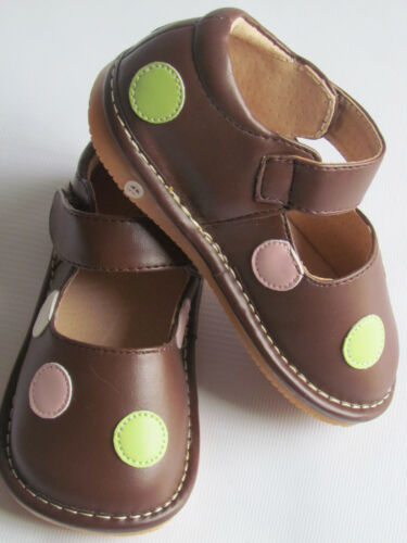Toddlers Shoes Brown w// Multi Dots Up to Size 7 for Toddlers Squeaky Shoes