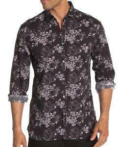 John-Varvatos-Star-USA-Men-039-s-Long-Sleeve-Clayton-Floral-Shirt-Cotton-Linen-Black