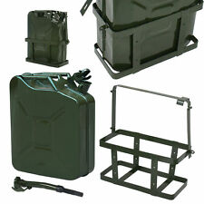 5 Gal NATO Style 20L Green Jerry Can Oil Fuel Steel Tank w/ Spout & Holder