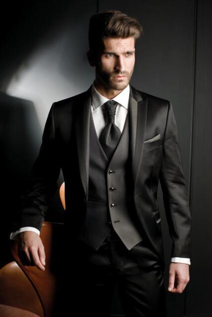2018 Black Custom Groom Tuxedos Best Man Peak Lapel ...  2018 Black Cust...