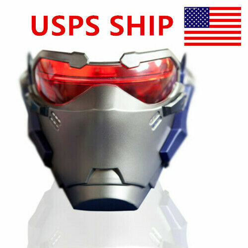 US Game OW Soldier 76 Helmet Halloween Adult Cosplay Props ABS LED Light Masks