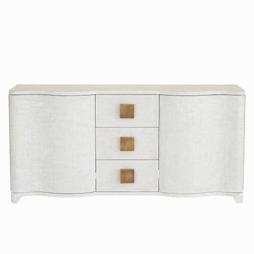 Linen Wrapped MidCentury Off White Console Cabinet | Shelves Drawers Fabric  Gold For Sale Online