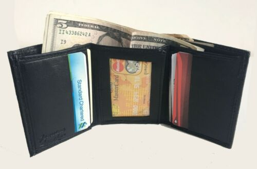 Black Crocodile Croc Print Credit Card ID Window Leather Men/'s Trifold Wallet