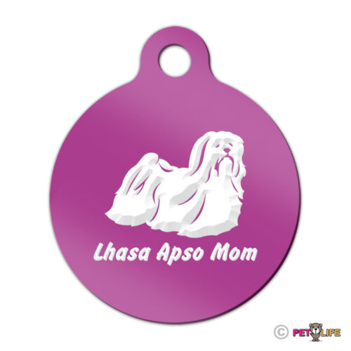 Lhasa Apso Mom Engraved Keychain Round Tag w//tab  Many Colors