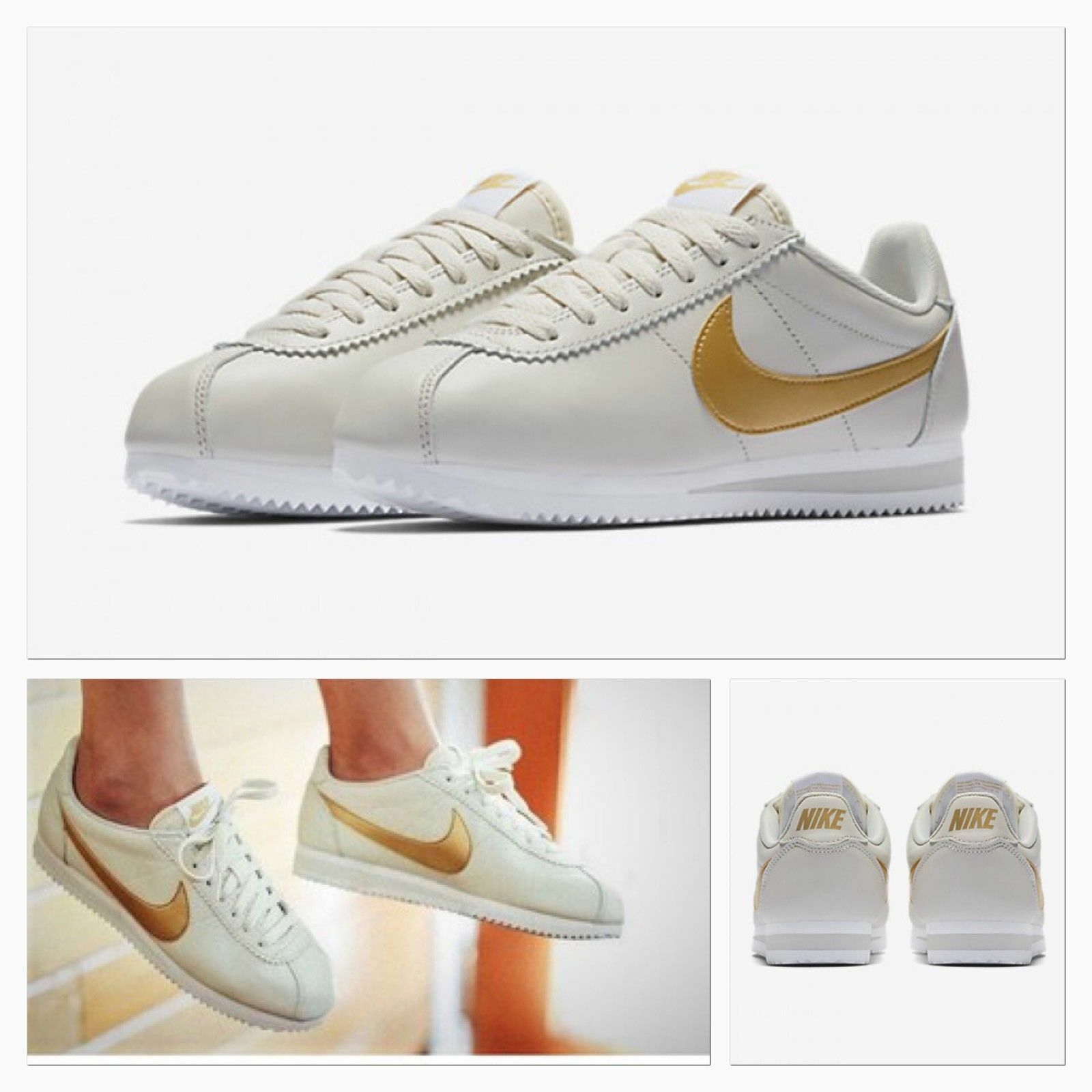 Damenschuhe NIKE CLASSIC CORTEZ LEATHER SIZE 4 EUR 37.5 (807471 011) LIGHT BONE/ GOLD