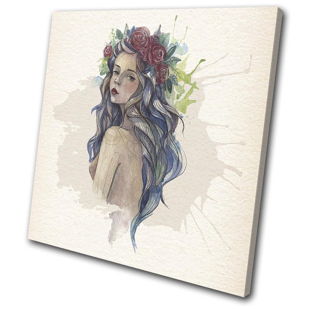 Watercolour Girl Beautiful Illustration SINGLE TELA parete arte arte arte foto stampa d3c63d