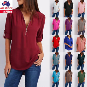 Plus-Size-Women-V-Neck-Chiffon-Shirt-Long-Sleeve-Loose-Blouse-Ladies-Tunic-Tops