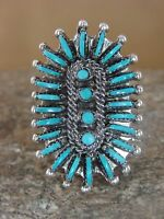 Zuni Indian Sterling Silver & Turquoise Ring Bernie Wyaco Size 7 1/2