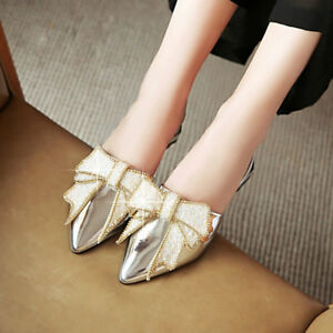 Women-039-s-Pointy-Toe-Low-Heel-Shining-Sequins-Bowknot-Mules-Slippers-Sandals-Shoes