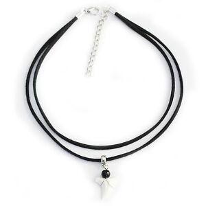 Real Shark tooth Charm Pendant Triple Layer Choker Necklace Black Velvet Cord