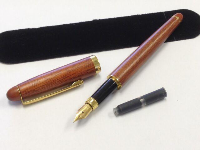 JCF Solid Wood Rosewood Wooden Twist Rollerball Pen w// Free Velvet Pouch