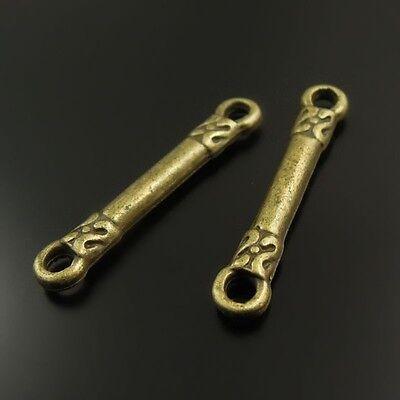 38384 Antiqued Bronze Vintage Alloy Stick Pendant Connector Accessories 40pcs