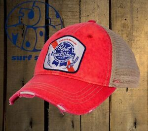 325a66b871bf28 Details about New Pabst Blue Ribbon Brewing Beer Trucker Vintage Relaxed Snapback  Cap Hat