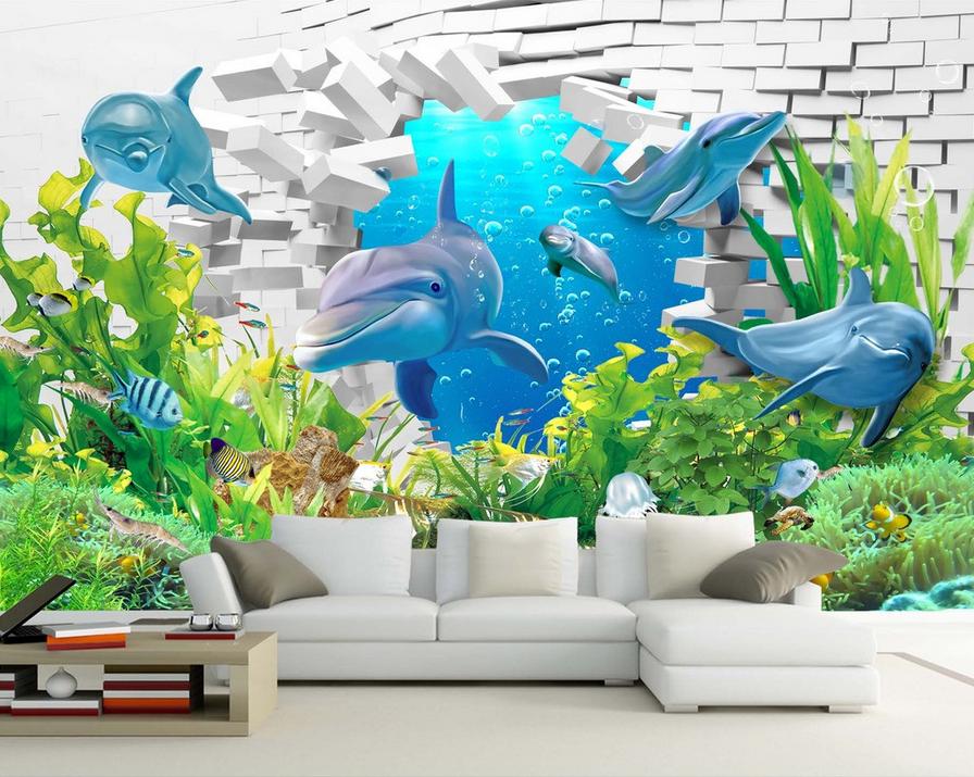 3d Grün Seaweed Dolphin 876 wandpaper Mural wandpaper wandpaper Picture Family De
