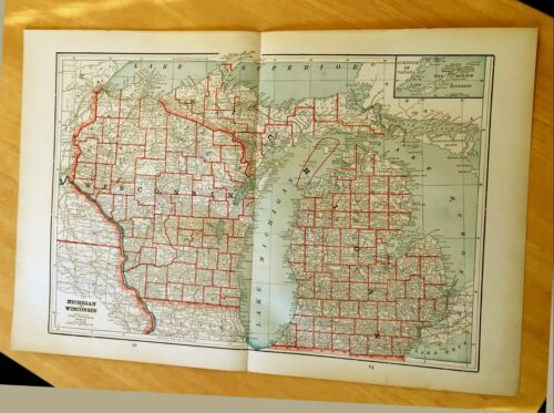 Antique Maps c1895 MICHIGAN & WISCONSIN 21 12 X 14 38 Original MISSOURI KANSAS