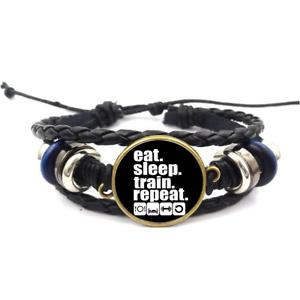 Eat Sleep Train Repeat Verre Cabochon Bracelet Tressé Bracelet En Cuir Bracelets