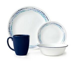Charmant Image Is Loading Banded Blues Dinnerware Dish Set For 4 Service