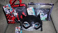 GOTHAM GIRLS HARLEY QUINN, BATGIRL & CATWOMAN COSMETIC BAG 3 PC SET SOHO LONDON