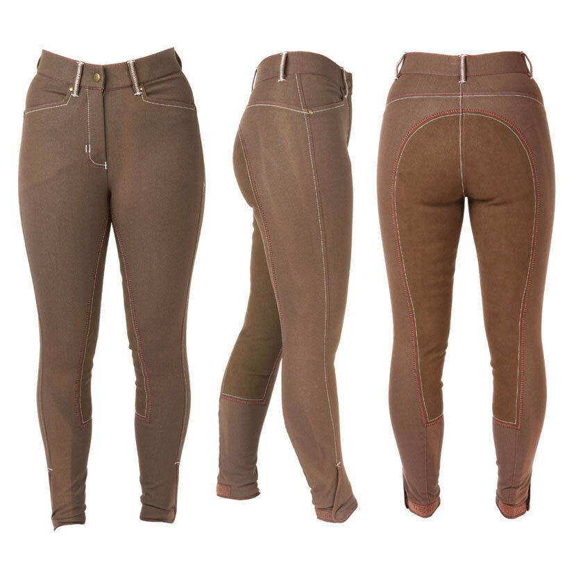 Hy PERFORMANCE DENIM LOOK Leather Seat Ladies Breeches Jeggings Brown 24-34