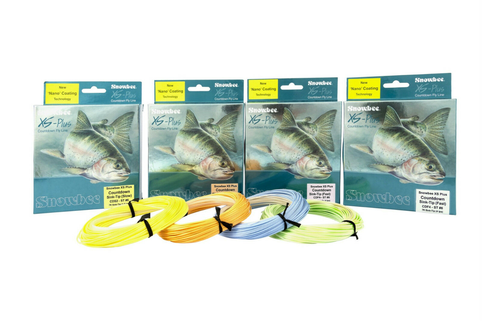 Snowbee XS-Plus Countdown Fast Sink-Tip Fly Lines 7 & 12ft Tips with Nano Coat