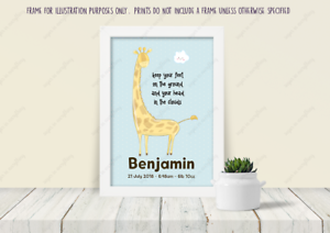 Personalised Christening Giraffe Cloud Gift Print Frame New Born Baby Boy Name